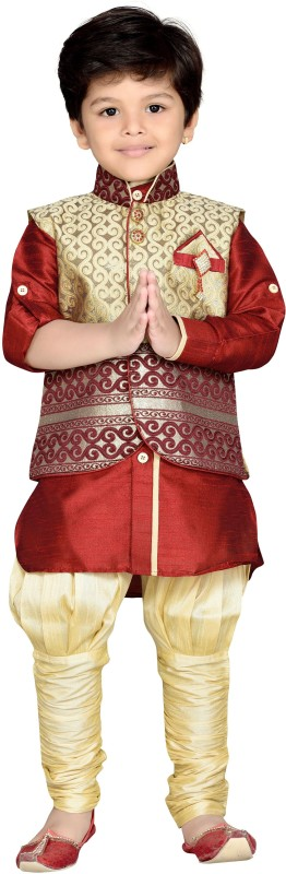 AJ Dezines Boys Festive & Party Kurta, Waistcoat and Pyjama...