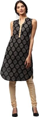Libas Printed Women's Pathani Kurta(Black, Beige) at flipkart