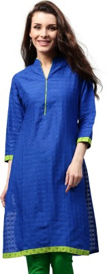 Libas Solid Women's Straight Kurta(Blue) at flipkart