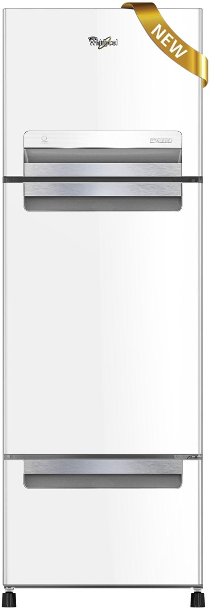 View Whirlpool 260 L Frost Free Triple Door Refrigerator(FP283D PROTTON ROY, Mirror White, 2017)  Price Online