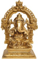 StatueStudio Sitting Lord Ganesh Ji Statue With Temple Arch Base Vedi Bronze Metal Gifting 7