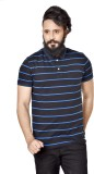 Broche Striped Men's Polo Neck Blue T-Sh...