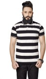 Broche Striped Men's Polo Neck Black T-S...