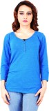Clo Clu Solid Women's V-neck Dark Blue T...