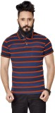 Broche Striped Men's Polo Neck Orange T-...