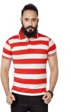 Broche Striped Men's Polo Neck Red T-Shi...