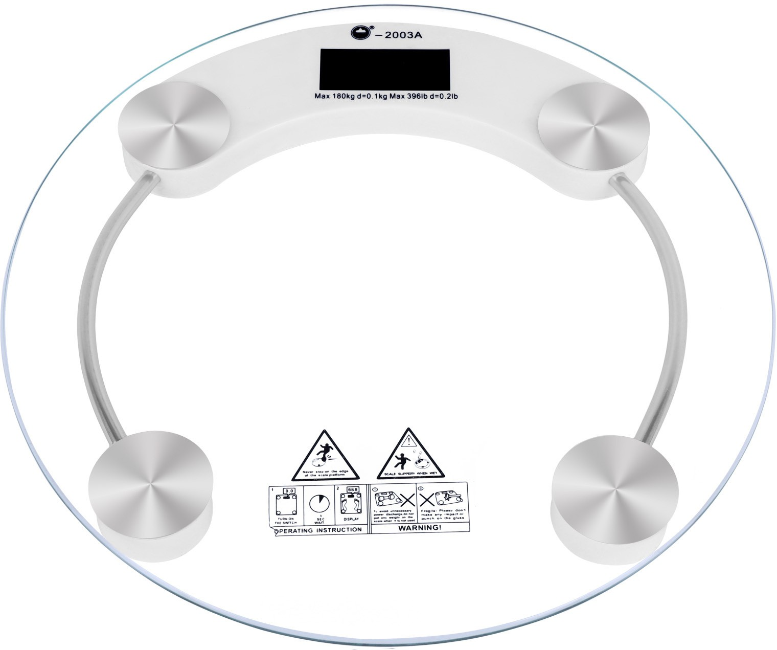 Cierie Thick & Tempered Glass Weighing Scale(White, Silver)