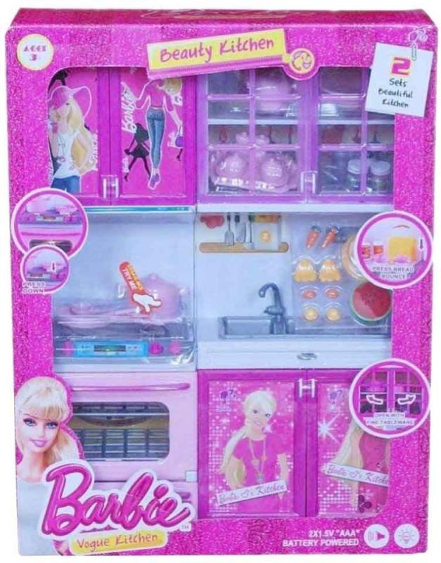 vbenterprise Latest Pink Plastic Barbie Kitchen Set(Pink)