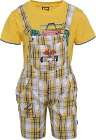 Seals Dungaree For Boys Casual Checkered Cotton(Yellow, Pack of 1)