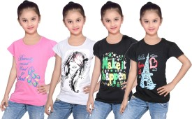 IndiWeaves Girls Printed Cotton T Shirt(Multicolor, Pack of 4)