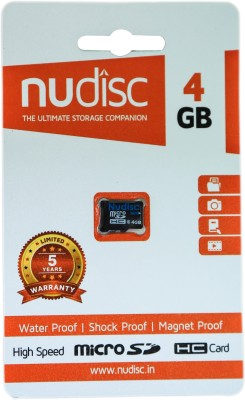 Nudisc 4  GB MicroSDHC Class 6 6 MB/s  Memory Card available at Flipkart for Rs.350