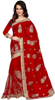 Pragati Fashion Hab Embroidered Bollywood Satin Saree(Red)