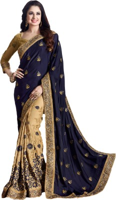 M.S.Retail Embroidered Kanjivaram Silk, Satin Saree(Dark Blue) at flipkart