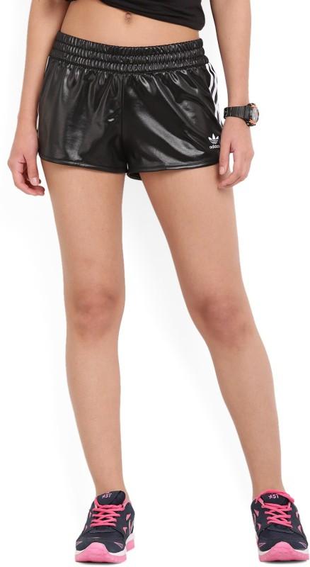 Adidas Solid Women's Black Sports Shorts