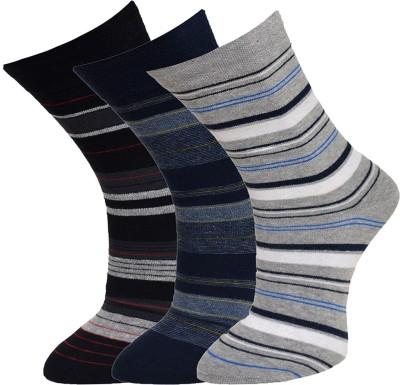 Vinenzia Mens Striped Crew Length Socks(Pack of 3)