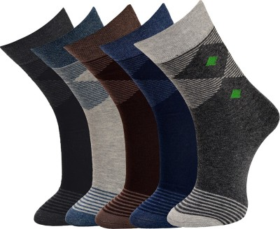 Vinenzia Mens Striped Crew Length Socks(Pack of 5)