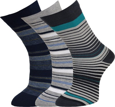 Vinenzia Mens Striped Crew Length Socks(Pack of 3)