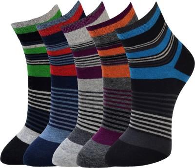 Marc Mens Striped Ankle Length Socks(Pack of 5)