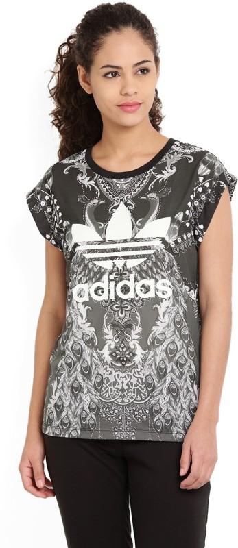 Adidas Printed Women's Round Neck Grey T-Shirt