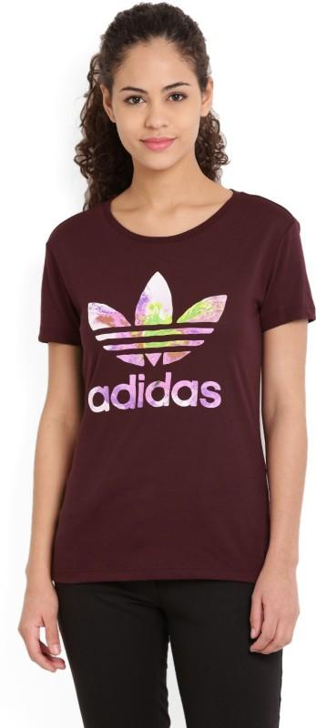 Adidas Printed Women's Round Neck Maroon T-Shirt