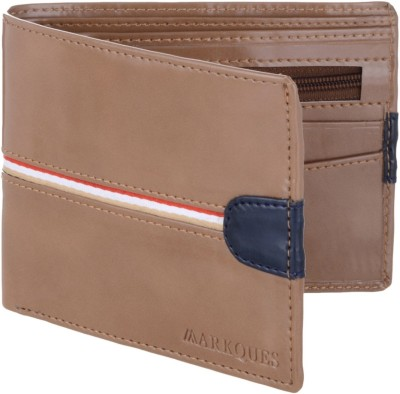 MARKQUES Men Beige Artificial Leather Wallet(6 Card Slots)