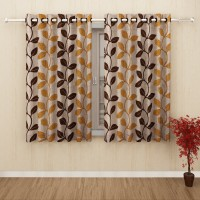 Story@Home Polyester Gold Printed Eyelet Window Curtain(152 cm in Height, Pack of 2)