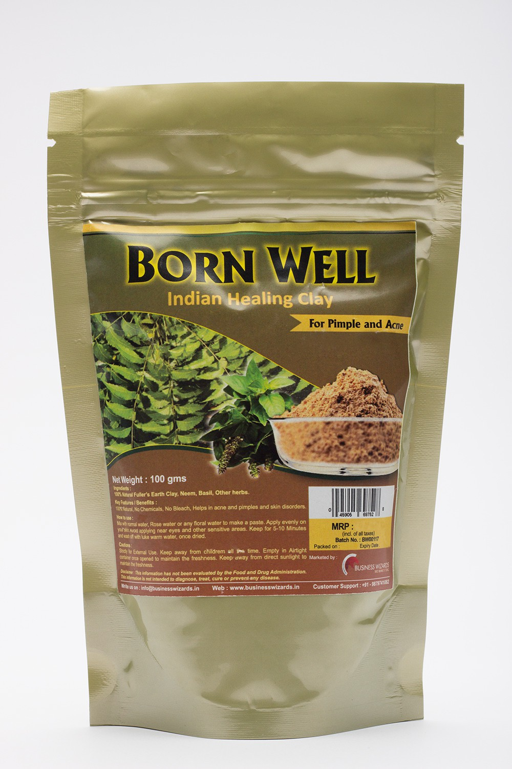 Born well Indian healing clay for Pimple & Acne with Neem & Basil Powder(100 g)