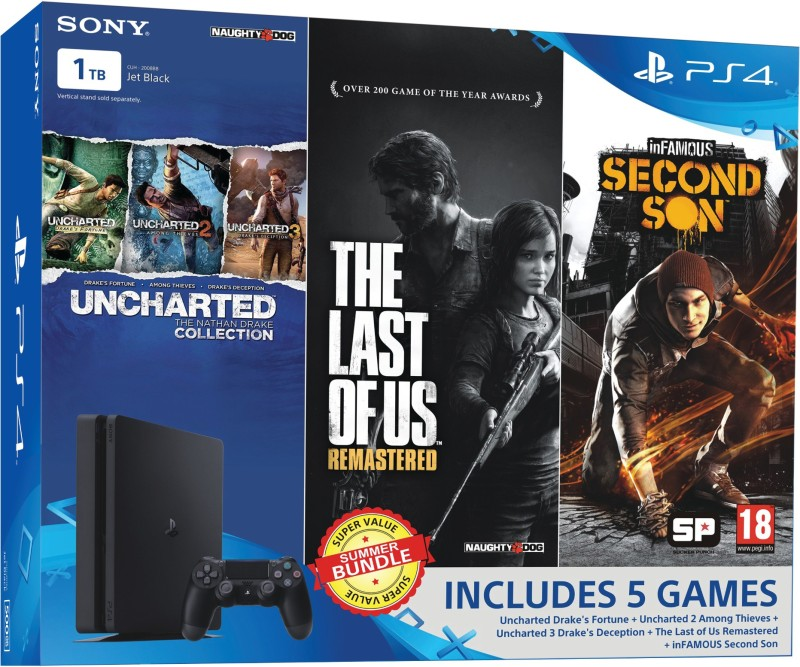 Sony PlayStation 4 (PS4) Slim 1 TB with Uncharted Collection,...