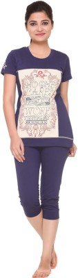 In Love Women's Graphic Print Blue Top & Capri Set at flipkart