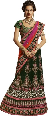 Triveni Embroidered Bollywood Net Saree(Green) at flipkart