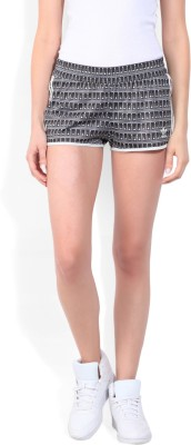 Adidas Printed Women Black, White Sports Shorts at flipkart