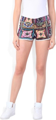 Adidas Printed Women Multicolor Sports Shorts at flipkart