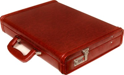 Leather World Sleek PU Leather Large Briefcase - For Men & Women(Maroon)