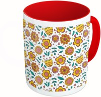 MiiCreations Printed Two Tone Red And White Flower and Leaves Pattern Ceramic Mug(325 ml) best price on Flipkart @ Rs. 399