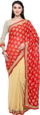 Satya Sita Self Design Fashion Georgette Saree(Red) at flipkart