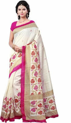 Saara Plain, Self Design, Solid, Printed Daily Wear Cotton, Silk Saree(Multicolor) at flipkart