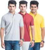 Akaira Solid Men's Polo Neck Grey, Red, ...
