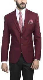 ManQ Solid Single Breasted Wedding, Formal Boy's Blazer(Red)