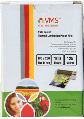 VMS Deluxe Thermal Lamination Pouch 180 X 230 125 MIC (100 Sheet) Laminating Sheet(125 mil Pack of 1)