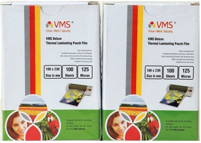 VMS Deluxe Thermal Lamination Pouch 100x230 -125 MIC Set Of 2 (200 Sheet) Laminating Sheet(125 mil Pack of 2)