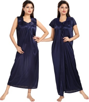 Rangmor Women's Nighty with Robe(Blue) at flipkart
