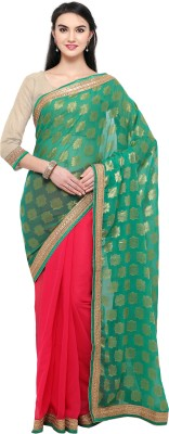 Satya Sita Solid Bollywood Georgette Saree(Green) at flipkart