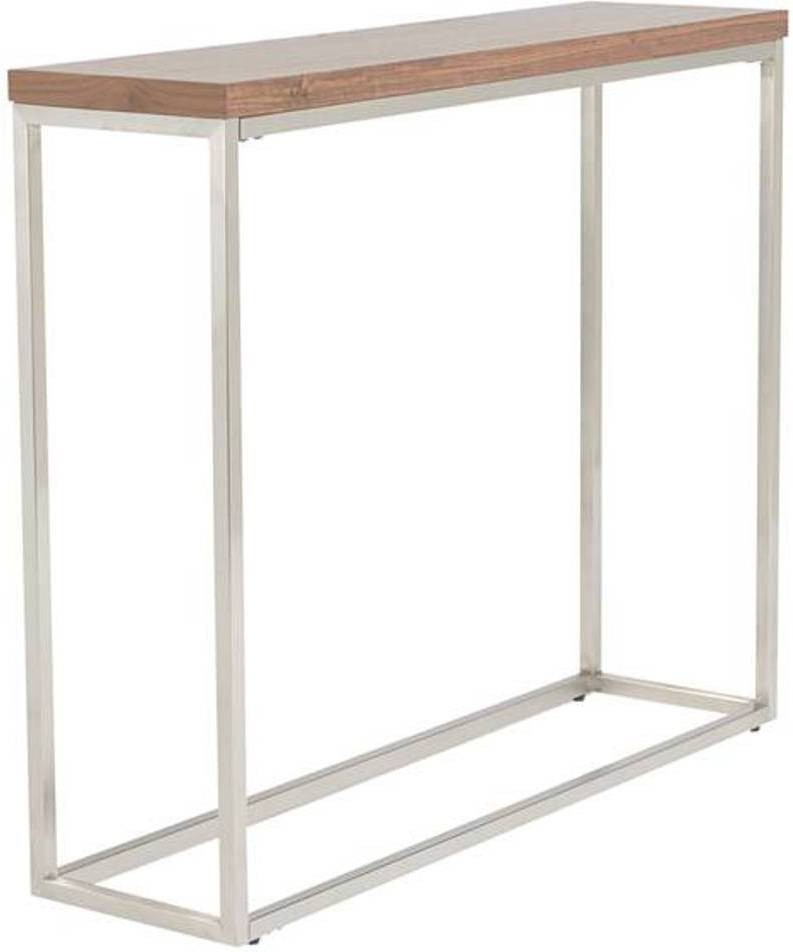 View black square Metal Console Table(Finish Color - walnut brown) Furniture (black square)
