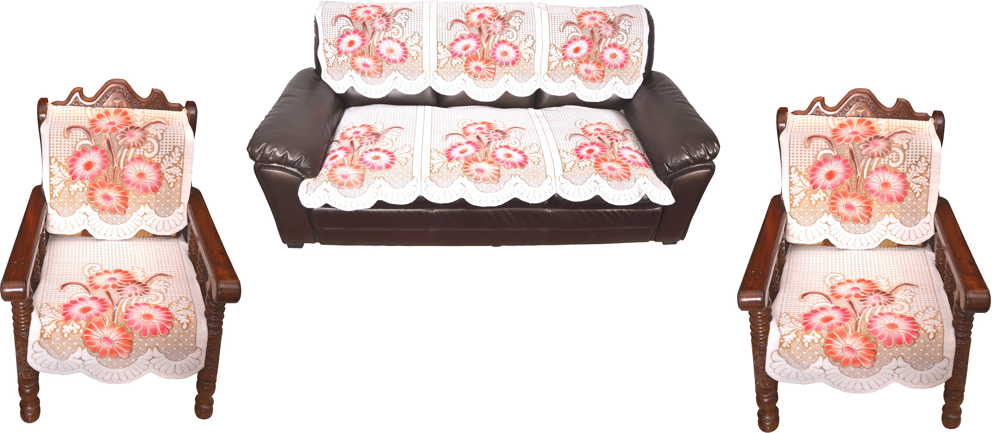 View Pindia Solid Wood 3 + 1 + 1 For 5 Seater Printed Flower Net Sofa Cover For Sofa Set Furniture (Pindia)
