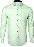 IVYN Men's Self Design Casual Green Shir...