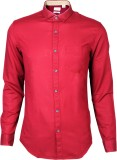 IVYN Men's Self Design Casual Red Shirt