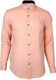 IVYN Men's Self Design Casual Orange Shi...