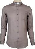 IVYN Men's Self Design Casual Brown Shir...