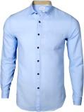 IVYN Men's Self Design Casual Light Blue...