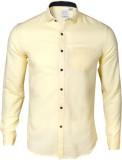 IVYN Men's Self Design Casual Yellow Shi...